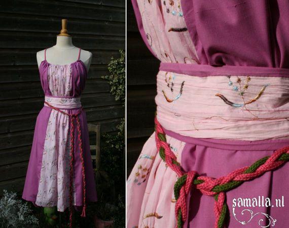 Shae Handmaiden Dress in pink Cotton with belt by SamallaNL