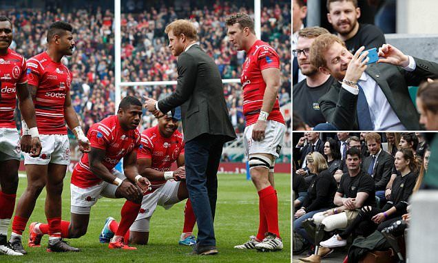 Prince Harry watches the Army vs Navy rugby match -   In poignant scenes at Twickenham stadium today, Fijian members of the British Army rugby team kneeled before  Prince Harry  to show him the ultimate... See more at https://www.icetrend.com/prince-harry-watches-the-army-vs-navy-rugby-match/