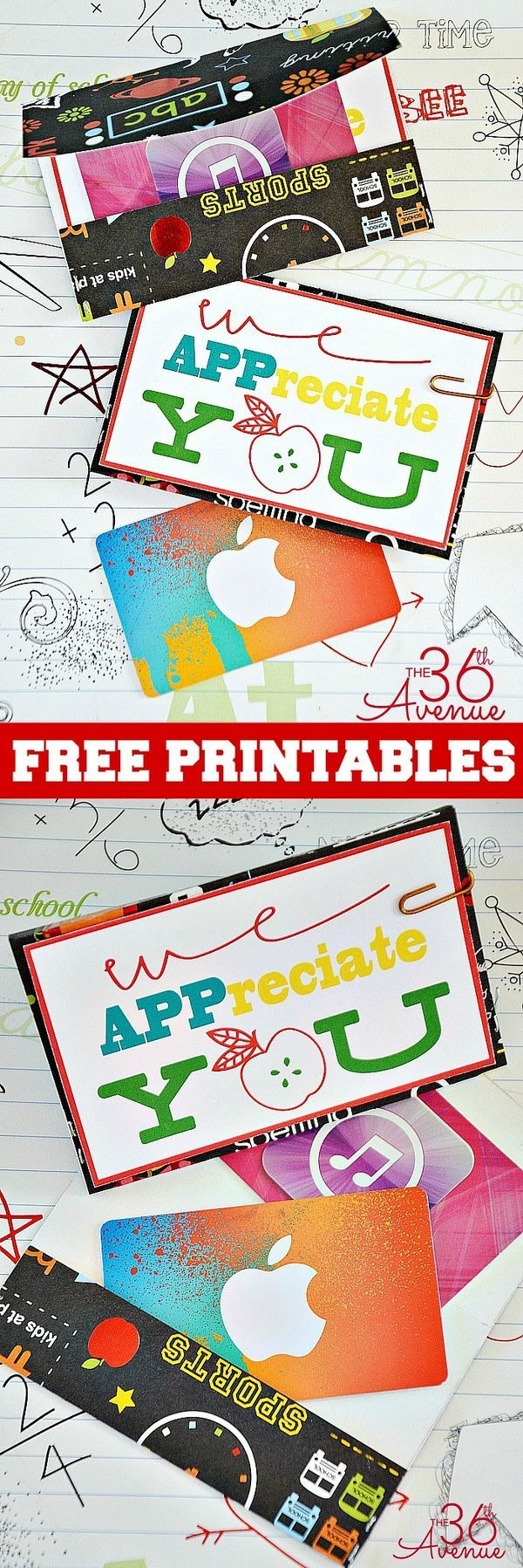 Teacher Appreciation Gift Ideas and Free Printables at the36thavenue.com