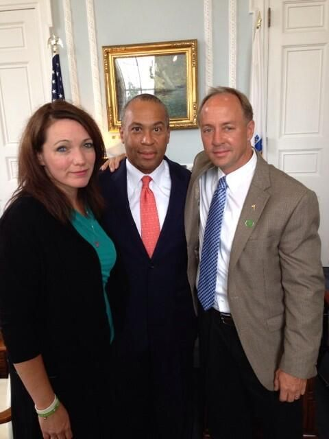Nicole Hockley, mother of Dylan, and Mark Barden, father of Daniel, with Massachusetts Governor Deval Patrick before the final public hearing that lawmakers have held as they draft a comprehensive bill that will make necessary updates to Massachusetts gun law.