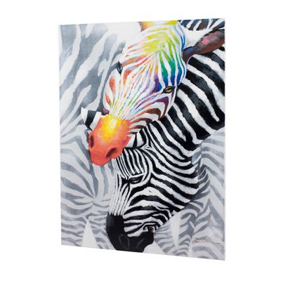 Two zebras with a twist meet in this contemporary canvas. A splash of colour on one of the zebra's head gives it an edge that will be a statement on any wall.