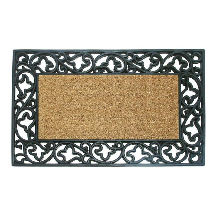 Creative Accents Wrought Iron Rubber Coir Mat Acanthus Border with Optional Personalization - 180