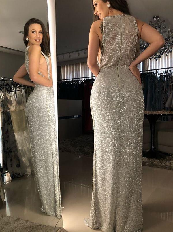 vestido de festa prata longo. vestido de festa prata longo Sequin Prom  Dresses e8680953e2aa