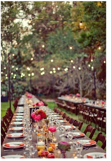 Outdoor dinner party idea-only much smaller! 2 tables pushed together