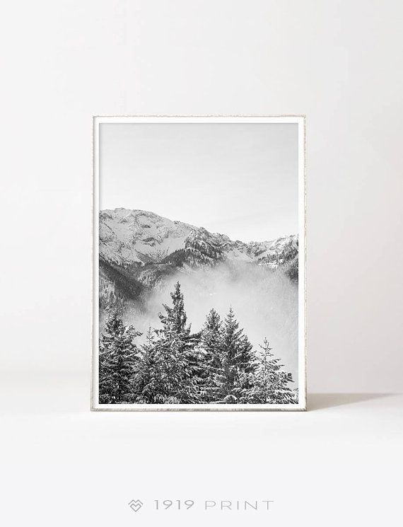 Mountains Black And White Printable Wall Art Modern Mountain Etsy Mountain Art Printable Wall Art Art Set