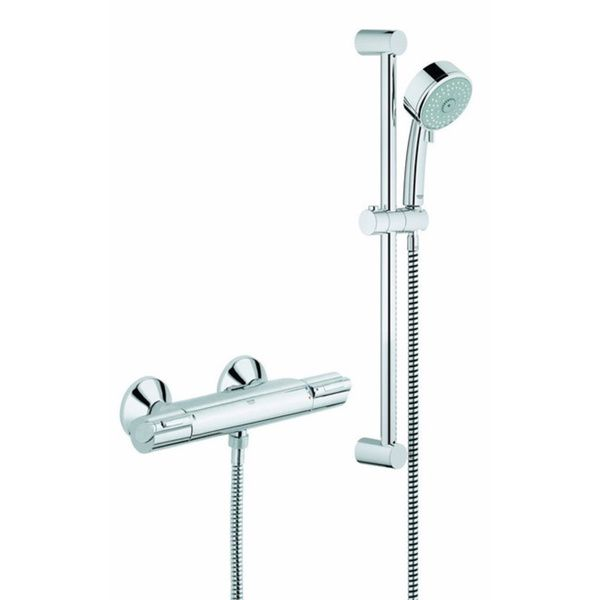 Grohe Grohtherm 1000-plus Exposed Theromstatic Shower Kit Grohe Starlight Chrome