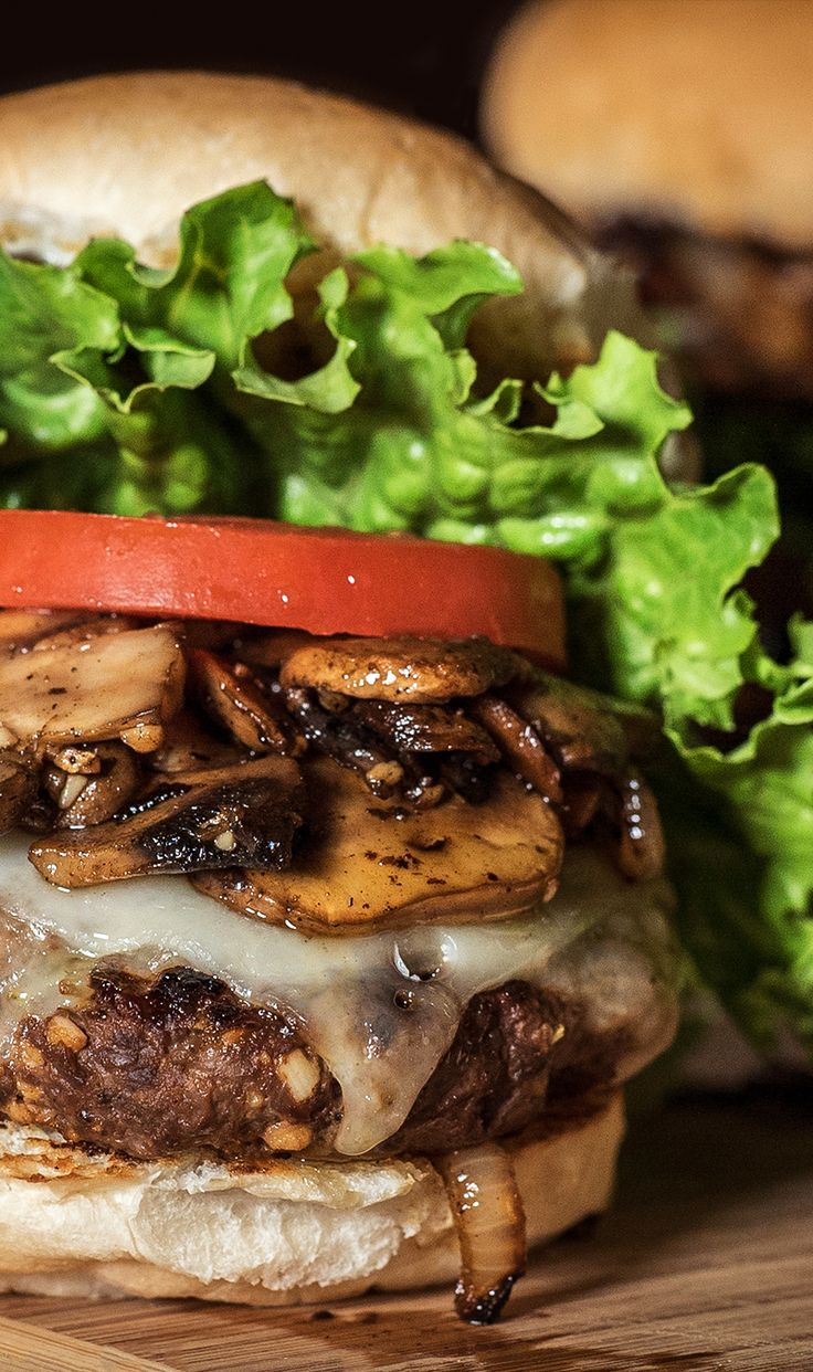 Grilled Onion and Mushroom Elk Burgers - courtesy of @fromfield2plate --  Step up your burger game with this recipe for Elk burgers. Don't have elk meat in the freezer? Use ground beef and away you go. : CampChef     #FlatTop #Skillet #CastIron #Recipe #Burgers