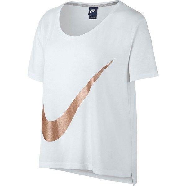 Women's Nike Swoosh Drop Shoulder Graphic Tee ($27) ❤ liked on Polyvore featuring tops, t-shirts, shirts, white, white t shirt, white shirt, relax t shirt, white tee and nike tee