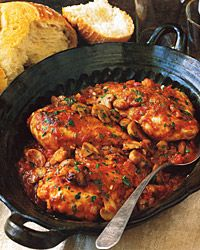 "Chicken Chasseur, this dish combines mushrooms and chicken in a tomato and white-wine sauce. The name means ""hunter's chicken""."