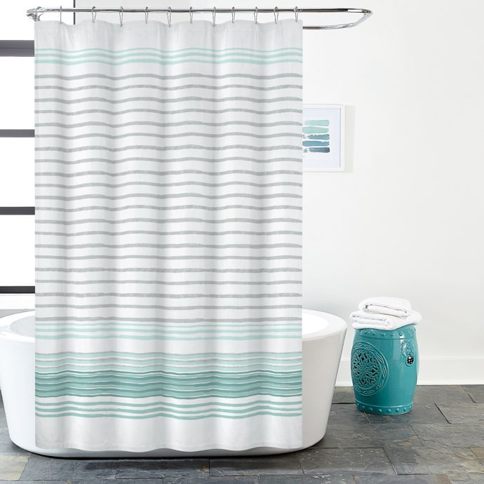 Gallery Stripe Shower Curtain In White Teal Bed Bath Beyond Striped Shower Curtains Teal Shower Curtains Teal Bathroom Accessories