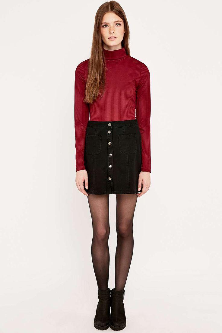 Αποτέλεσμα εικόνας για turtleneck with denim skirt