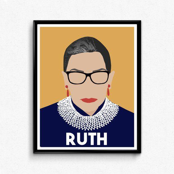 Ruth Bader Ginsburg Feminist Poster Print Feminist Wall Art Etsy Feminist Icons Poster Prints Etsy Wall Art