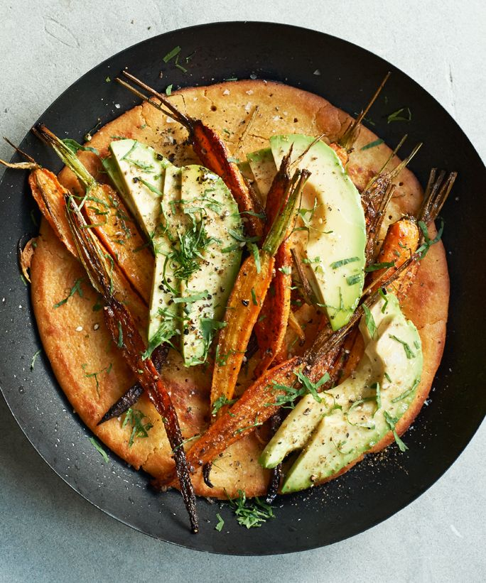 Gwyneth Paltrow Shows You How to Plan a Relaxed, Elegant Brunch for Mother's Day - Za'atar Roasted Carrot and Avocado Socca Topping  - from InStyle.com