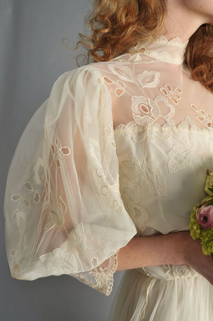1970s wedding dress edwardian style // 70's edwardian style embroidered lace gown //