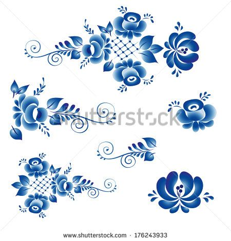 Russian Gzhel ornaments & patterns.stock-vector-the-set-of-elements-of-the-traditional-russian-ornaments-gzhel-to-create-your-decorative-flower-176243933.jpg (450×470)