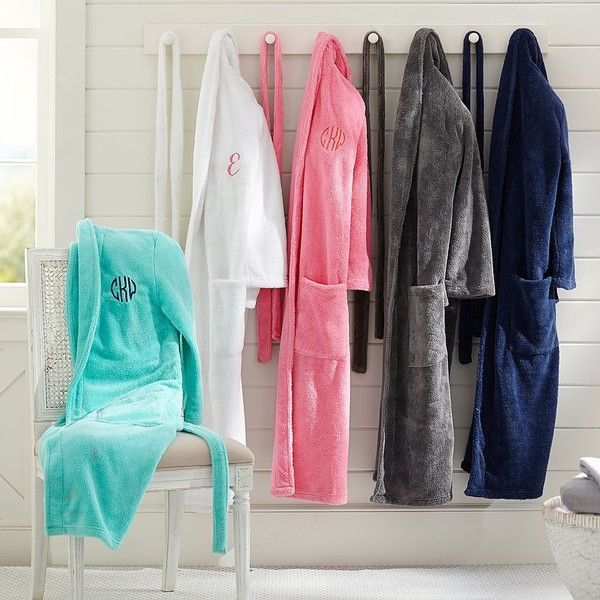 PB Teen Classic Bath Robe, Bright Pink at Pottery Barn Teen - Pajamas... ($69) ❤ liked on Polyvore featuring intimates, robes, sash belt, monogrammed bathrobes, pbteen, bath robes and dressing gown