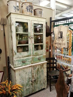 primitive cabinet antique booth display