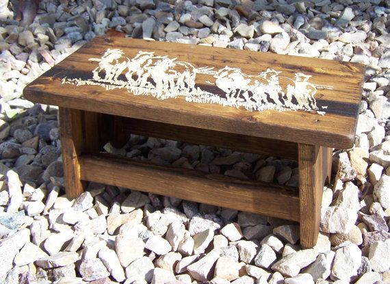 Stained western wood child stool for kid's by WorkHorseFurniture