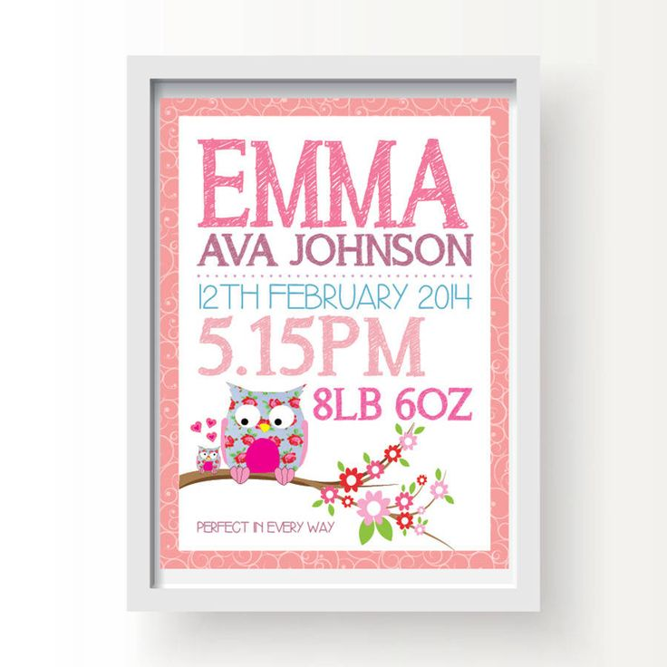 Personalised Owl Baby Birth Print Pink Or Blue