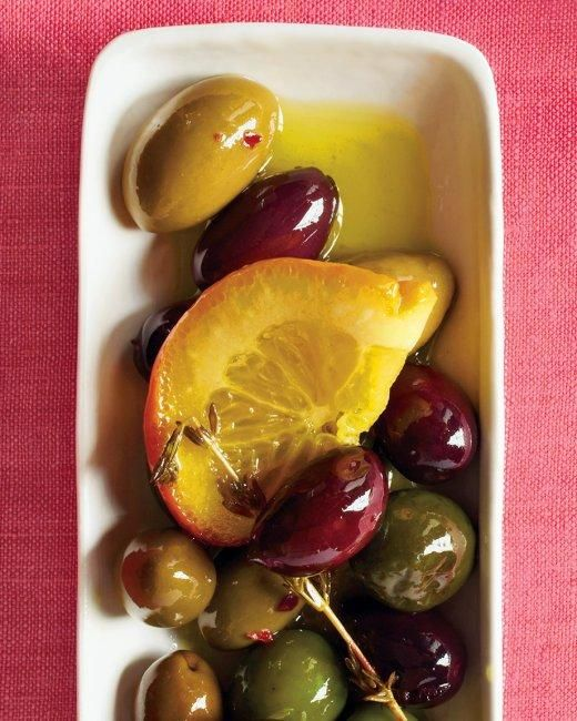 Marinated Olives Recipe: Holidays Parties, Olives Oil, Citrus Slices, Easy Holidays, Lemon Slices, Fresh Herbs, Parties Appetizers, Martha Stewart, Marines Olives