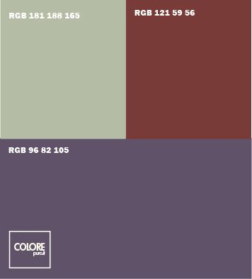 Abbinamento colori viola marrone grigio verde