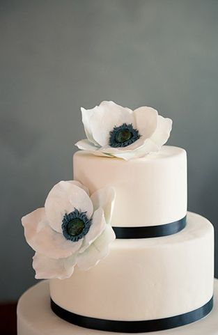 Classic Wedding Ideas: This black and white cake decorated with anemones is perfect for a classic wedding! via Glamour & Grace Brooke Allison Photography Photography & More