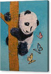 Butterfly Canvas Print featuring the painting Panda Butterflies by Michael Creese