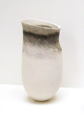JENNIFER LEE (b. 1956) Pale with smoky flashing, tilted rim, 1993 handbuilt coloured stoneware 22.7 x 11 cm (8.9 x 4.3 inches) JLEE284