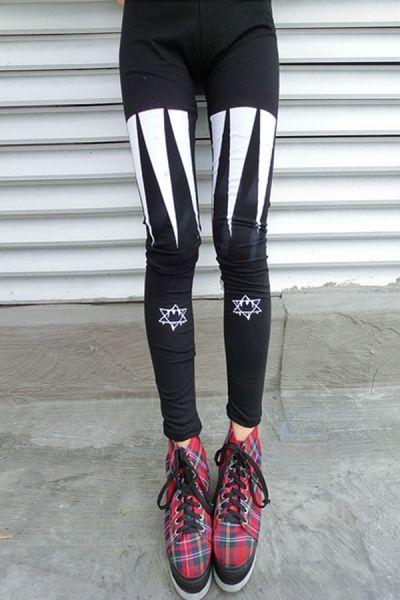 Chic Star And Cross Print Leggings