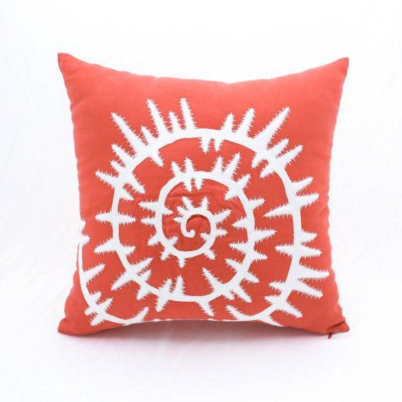 Sea Shell Pillow Cover, Orange Linen White Sea Shell Embroidery, Nautical Pillow…