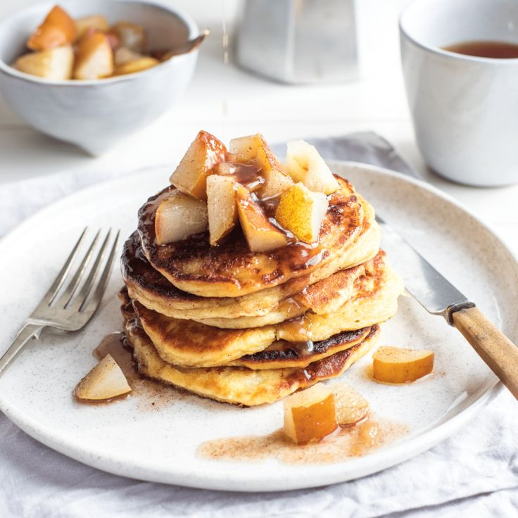 Ricotta pancakes with cinnamon pears By Nadia Lim