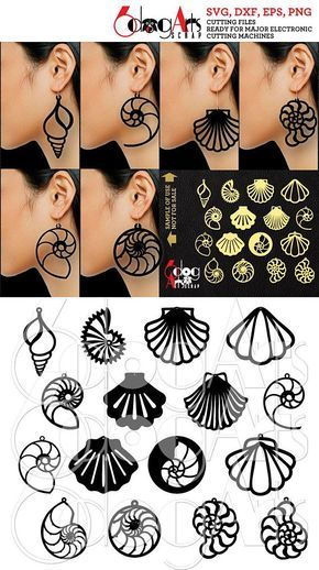 16 Wood / Acrylic / Leather Sea Shell Earring / Pendant Templates Vector Digital SVG DXF Jewelry Cut