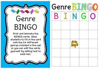 Classroom Freebies: Genre BINGO: Classroom Freebies, Teaching Reading, Genre Posters, Teaching Ideas, Bingo Activities, Gingers Snap, Classroom Ideas, Reading Writ, Genre Bingo