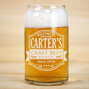 Personalized Craft Beer Can Glass | Personalized Beer Glass