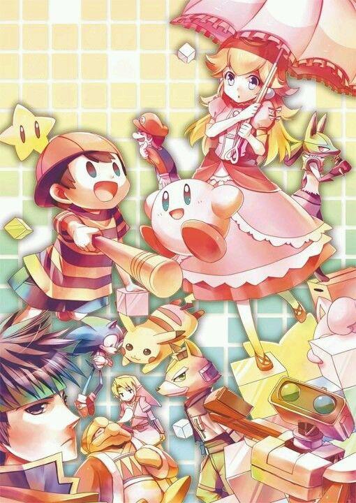 Peach looks like an anime girl, Ness & Kirby look so hopeful