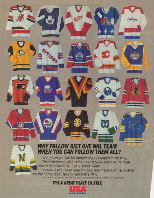 Vintage USA Network NHL ad, featuring the sweater of every team at the time.