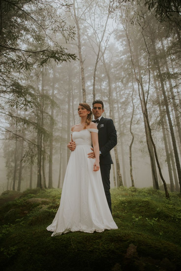 BARDOT. Off the shoulder wedding dress for the eco conscious bride. Handmade in in the Uk using ethical bamboo silk. Photo taken in Norway by Jamie Sia.