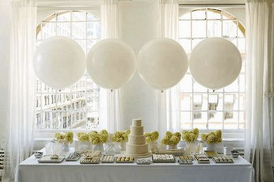 I like this idea for decorating the food tables - especially if we did the confetti balloons