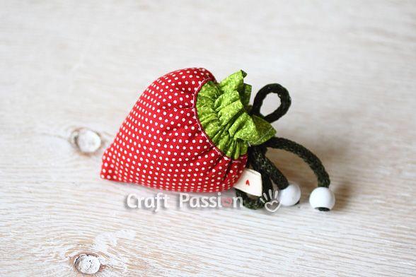 strawberry drawstring bag
