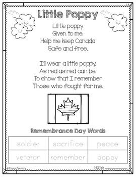 I am celebrating my first milestone - 50 followers - with this freebie.I found this poem on the photocopier at work and couldn't resist creating a cute printable out of it! I added the Remembrance Day words to help facilitate classroom discussion and to incorporate a written component.