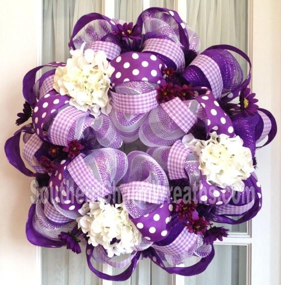 Purple, Lavender, White Polka Dot Deco Mesh Wreath