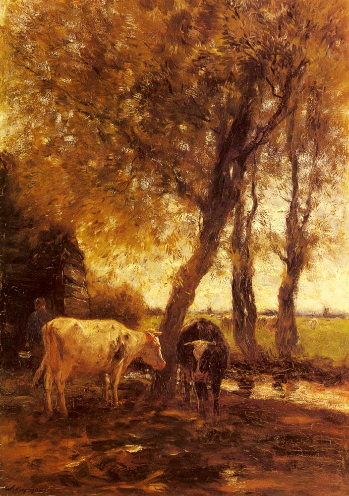 Willem Maris (1844-1910) Cattle By A Stream