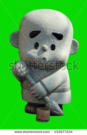 baby monk statue isolated / Japanese baby monk statue