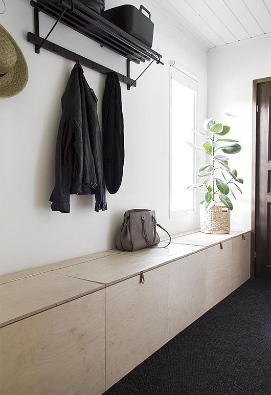 diy storage in the hall plywood