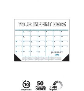 Product: 1D529 2018 Desk Pad Calendar, Black & Blue Basic custom imprint setup & PDF proof included! Desk pads keep a customer's name in front of potential clients on a daily basis. Date grid includes Julian dates making it perfect for financial, construction & manufacturing markets. Vinyl corners provide an attractive frame and durability at no extra charge.Norwood Publishing / 6504