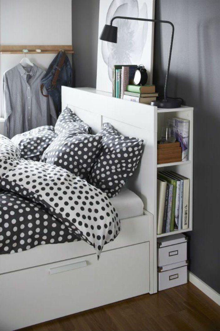 lit avec tiroir de rangement , chambre adulte avec grand lit tiroir