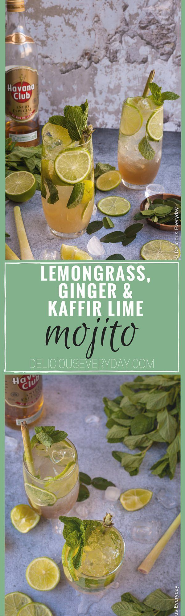 This Lemongrass, Kaffir Lime and Ginger Mojito is a beautiful update to the classic. Ginger adds a punchy kick while the lemongrass and kaffir lime add a lovely floral note. | Click for the recipe