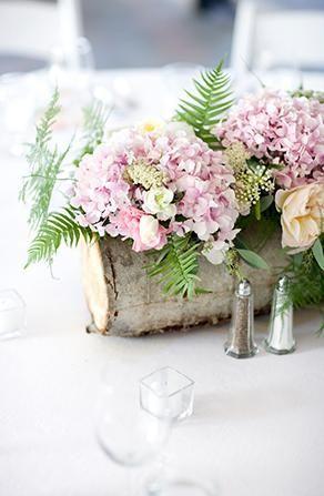hollowed birch log as centerpiece vase