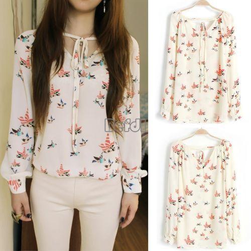 Blusas femeninas 2015 Tops para mujer camiseta de manga larga camisa de gasa mujeres Blusa Animal Print Bird Blusa Chifon para mujer Blusas