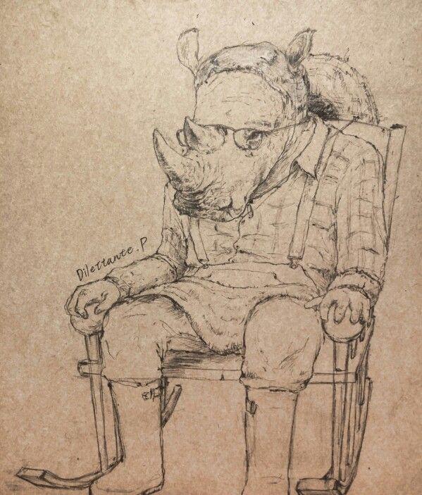 투시 망.. #draw #drawing #art #illustration #picture #rhino #oldman #farmer